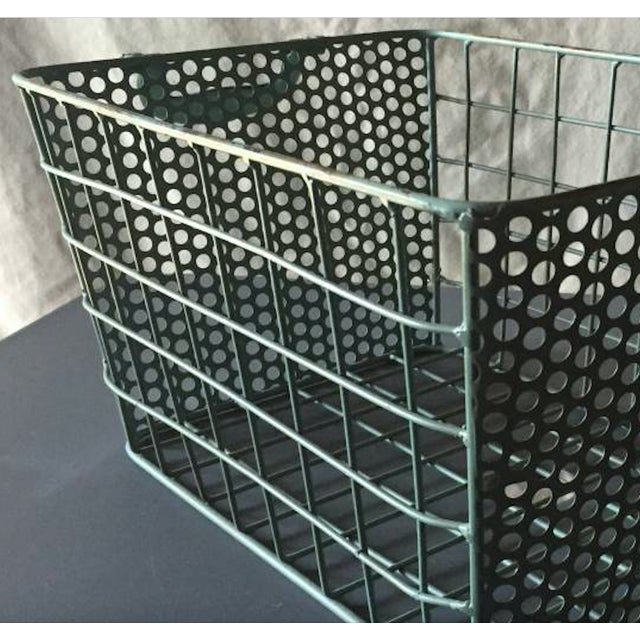 Blue Metal Perforated Industrial Style Basket - Image 8 of 8