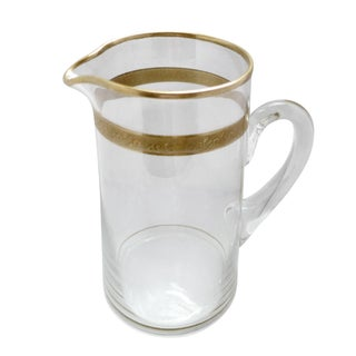 Vintage Tiffin Glass Gold Trimmed Pitcher