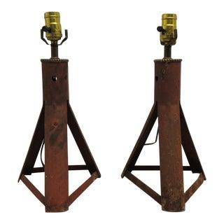 Vintage Pair of industrial car jacks rusted vintage lamps