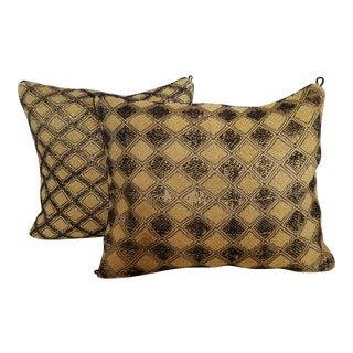 African Kuba Cloth Pillows - A Pair