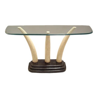 Stone and Glass Console Table by Maitland Smith
