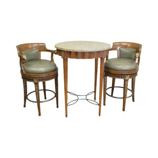 Regency Style Round High Top Table w/ 2 Swivel Leather Stools
