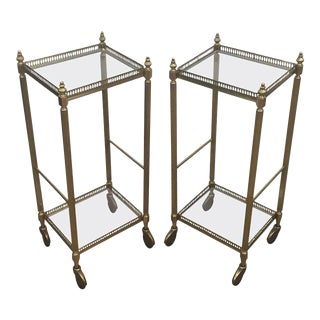 Pair of Neoclassical Square Brass Side Tables on Casters