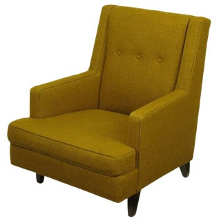 Edward Wormley Lounge Chair in Moss Green Wool Upholstery