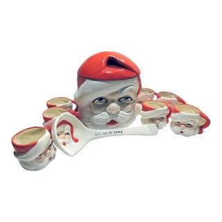 Vintage Ceramic Santa Punch Bowl Set