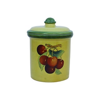 Italian Ceramic Canister With Cherries