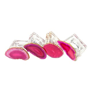 Pink Agate Napkin Rings - Set of 4