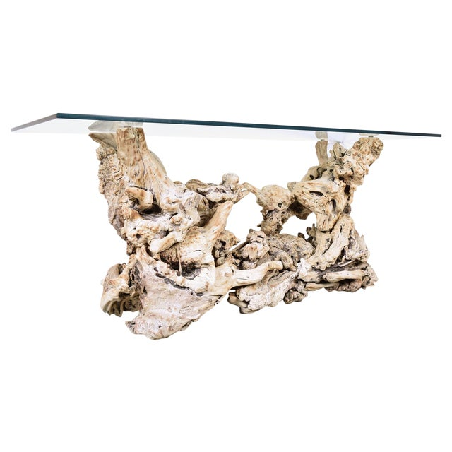 Vintage Tree Root Console Table W/Glass Top - Image 1 of 8