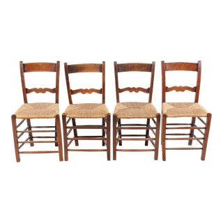 French Country Elm & Rush Chairs - Set of 4
