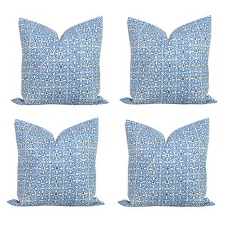 Quadrille French Blue & Brown Pillow Covers - S/4
