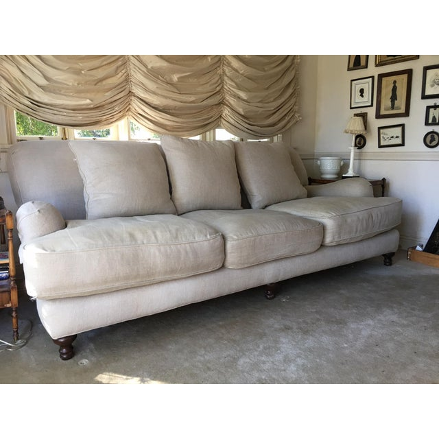 Restoration Hardware Sand Linen English Roll Arm Sofa ...