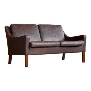 Danish Mid Century Loveseat in Brown Leather