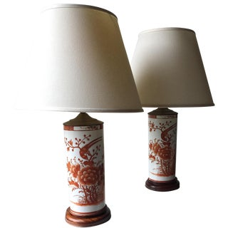 2 Chinoiserie Porcelain Lamps & Shades-Pedestal Base