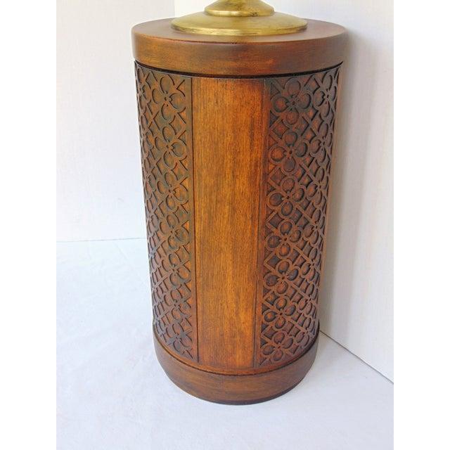 Mid-Century Mahogany Fretwork Lamp - Image 4 of 5