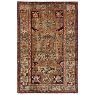 Earth Tone Vintage Persian Rug - 4′ × 6′3″