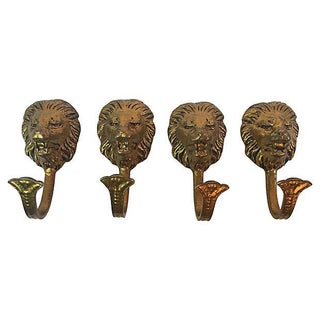 Antique Victorian Brass Lion Head Hooks - Set of 4
