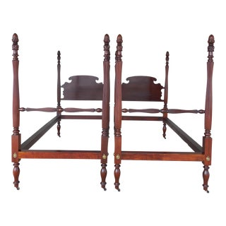 Antique Mahogany Chippendale Style Twin Poster Beds - A Pair