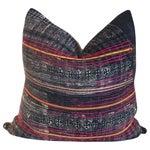 Image of Vintage Batik Embroidered Indigo Pillow