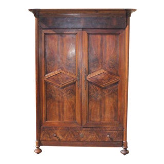 19th Century French Louis Philippe Walnut Period Chateau Armoire circa 1850s