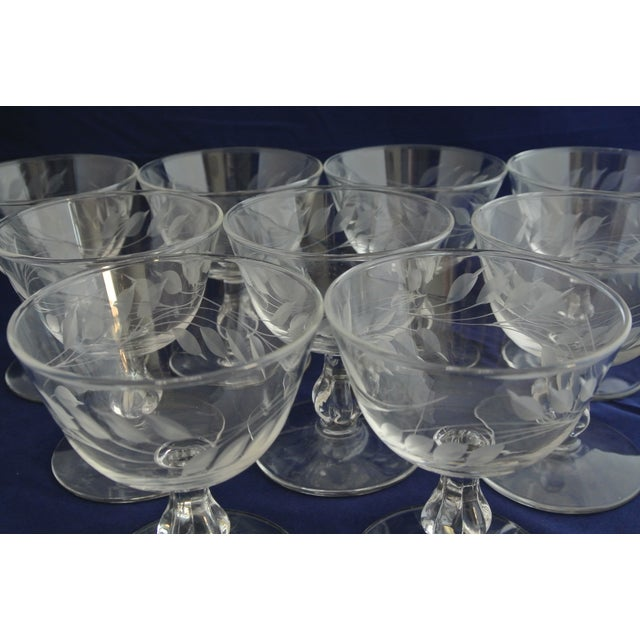 Antique Etched Crystal Champagne Coupes - Set of 9 - Image 7 of 11