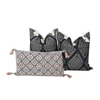 Black and Blush Handwoven Mayan Pillows - Set of 3