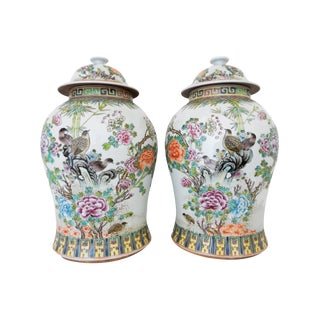 Porcelain Famille Rose & Bird Decorated Ginger Jars- A Pair