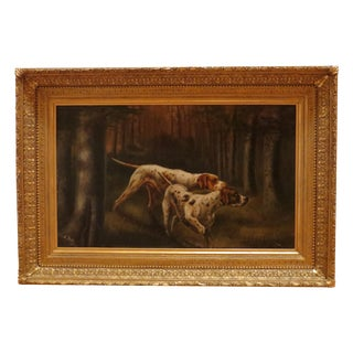 "1896 E.Porter ""Two Hunting Dogs"" Painting"