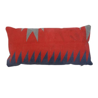 Antique Agra Red & Blue Kidney Pillow