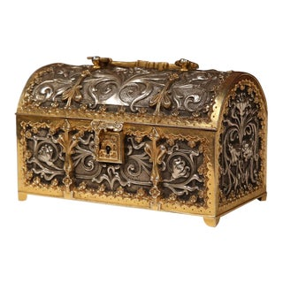 19th Century French Gothic Silvered Bronze Dore Jewelery Box with Flowers Motifs