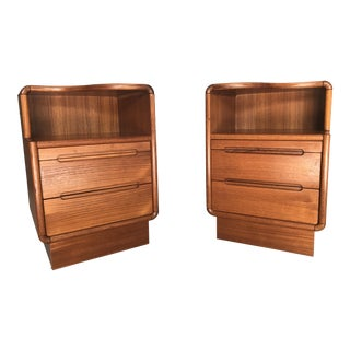 Sun Cabinet Mid-Century Modern Style Teak End Tables - A Pair