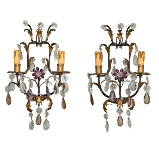 Italian Two-Light Tole & Crystal Sconces - A Pair