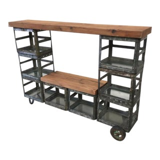 Vintage Industrial Metal Bookcase Display Console