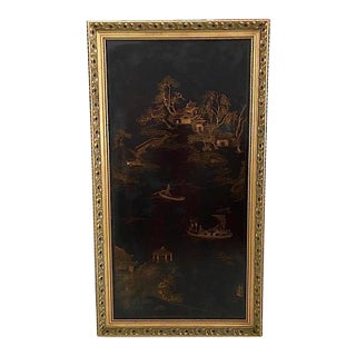 Decorative Chinoiserie Lacquered Framed Wall Panel