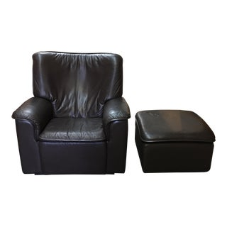 De Sede Brown Leather Armchair & Ottoman - A Pair