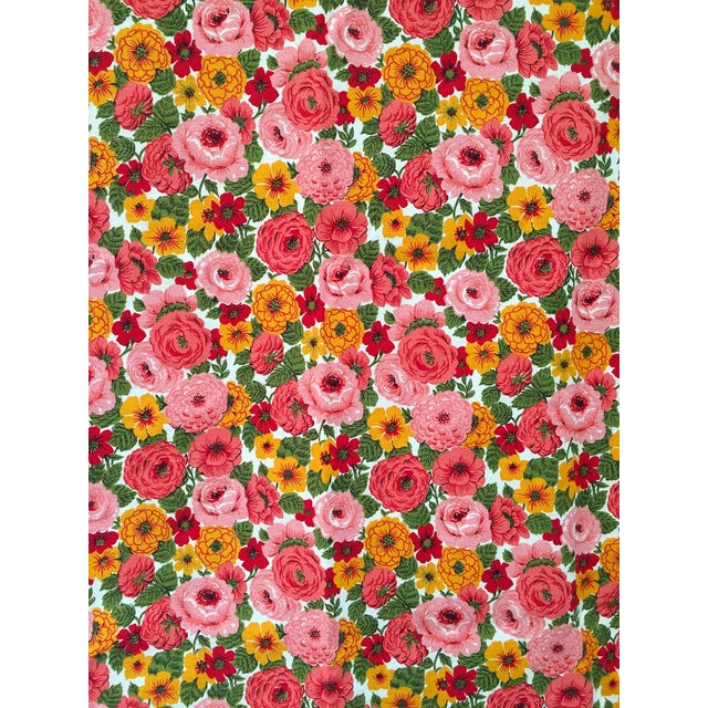 Vintage 1960s Pink Floral Curtain - Image 2 of 6