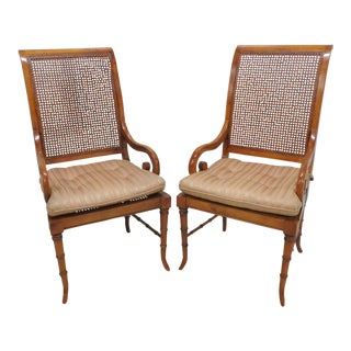 Regency Faux Bamboo Caned Arm Chairs - A Pair