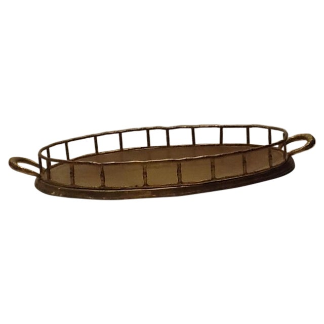 Vintage Brass Bamboo Style Tray - Image 1 of 4