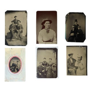 Antique Victorian Tintype Photographs - Set of 6