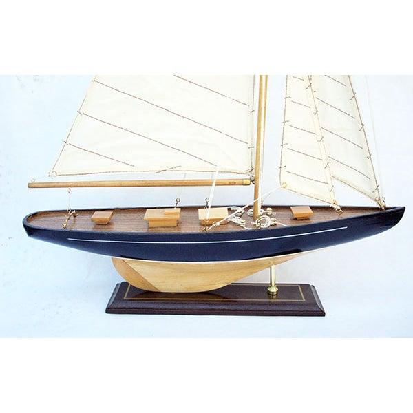 Handmade Wooden Sailboat Model - Image 4 of 4