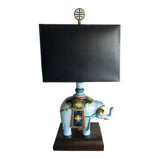Sky Blue Porcelain Asian Elephant Lamp