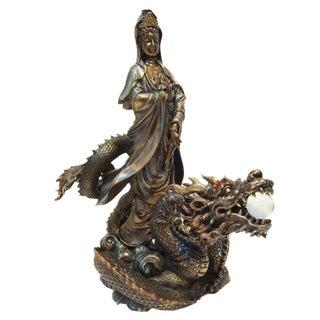Asian Quan Yin & Dragon Statue