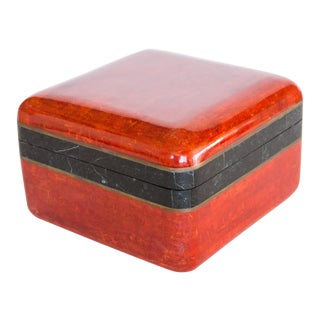 Maitland-Smith Red Stone and Brass Box
