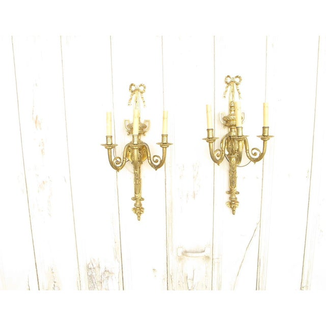 Image of French Ribbon 3-Light Sconces - A Pair
