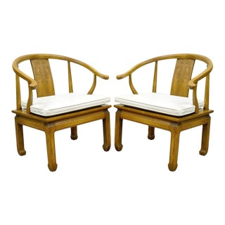 Vintage Century Asian Ming Style Horseshoe Arm Chairs - a Pair