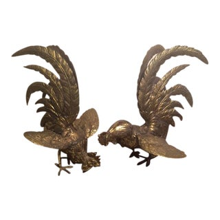 Asian Brass Fighting Roosters - A Pair