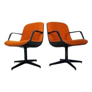 Steelcase Swivel Armchairs in Orange Tweed - Pair