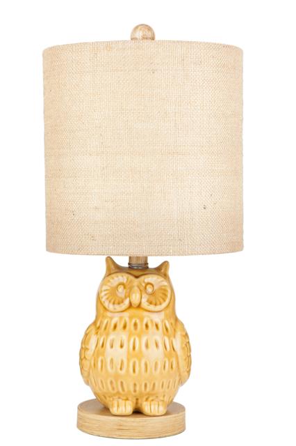 Yellow Ceramic Owl Table Lamp