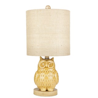 Yellow Ceramic Owl Table Lamp