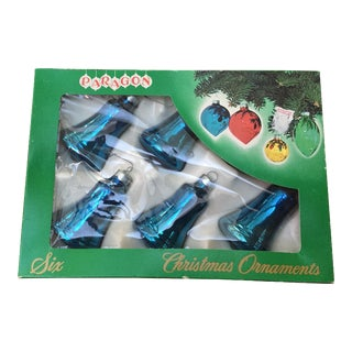 Bell Shaped Blue Christmas Ornaments - Set of 6