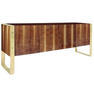 Modern Walnut & Brass Media Cabinet